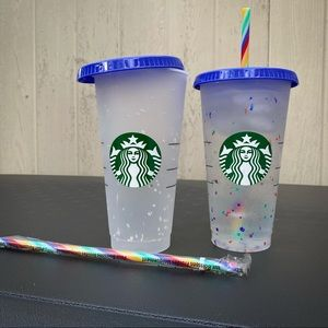 Two Starbucks Rainbow Color Changing Confetti Cups